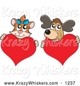 Critter Clipart of a Cat and Dog Hugging Hearts by Visekart