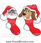 Critter Clipart of a Cat and Dog Inside Christmas Stockings by Visekart