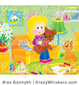 Critter Clipart of a Cat and Girl with a Teddy Bear in a Toy Room - Royalty Free by Alex Bannykh