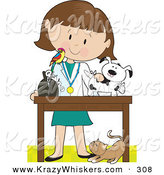 Critter Clipart of a Cat at a Caucasian Female Veterinarian's Feet As She Bandages up a Puppy, a Bird Perched on Her Shoulder by Maria Bell
