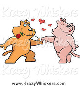 Critter Clipart of a Cat Couple Dancing with Hearts and a Rose by Cory Thoman