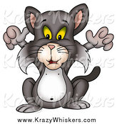 Critter Clipart of a Cat Holding His Front Arms up by Dero