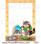 Critter Clipart of a Cat in a Hole and on a Tree Border Around White Space by Visekart
