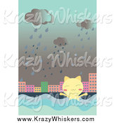 Critter Clipart of a Cat in Flood Waters by Mayawizard101