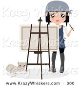 Critter Clipart of a Cat Laying by a Female Artist Holding a Paintbrush and Looking over a Canvas on an Easel by Melisende Vector
