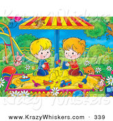Critter Clipart of a Cat near a Boy and Girl Playing in a Sandbox in a Green Park by Alex Bannykh