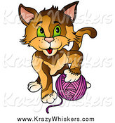 Critter Clipart of a Cat Playing with a Ball of Purple Yarn by Dero