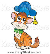 Critter Clipart of a Cat Professor Wearing a Cap by Visekart