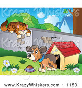 Critter Clipart of a Cat Sleeping on a Wall over a Dog by a House by Visekart