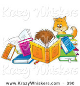 Critter Clipart of a Cat Watching a Boy Reading a Book Amidst Many Colorful Books by Alex Bannykh