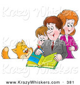 Critter Clipart of a Cat Watching a Family Writing in a Photo Album by Alex Bannykh