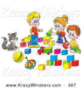 Critter Clipart of a Cat Watching Two Small Boys and a Girl Play with Blocks by Alex Bannykh