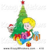 Critter Clipart of a Cat Wearing a Santa Hat, Peeking Around a Christmas Tree and Watching a Blond Boy Open Presents by Alex Bannykh