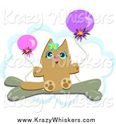 Critter Clipart of a Cat with Balloons over a Cloud by