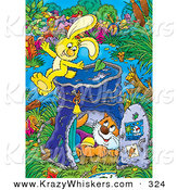 Critter Clipart of a Cheerful and Energetic Yellow Bunny on Top of a Pail Converted into a Club House, a Cat Inside by Alex Bannykh