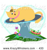 Critter Clipart of a Cheerful Beige Cat on a Mushroom over Flowers and a Caterpillar by