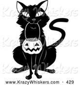 Critter Clipart of a Cheerful Black Cat Sitting and Carrying a Pumpkin Basket Full of Candy Corn in Its Mouth on Halloween by Lawrence Christmas Illustration
