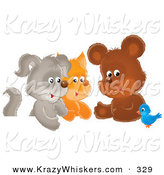 Critter Clipart of a Cheerful Bluebird Chatting with a Cute Bear, Kitten and Puppy by Alex Bannykh