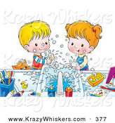 Critter Clipart of a Cheerful Brother and Sister Making a Mess While Washing Their Hands with Soap, a Cat Peeking over the Counter by Alex Bannykh