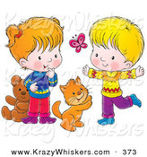 Critter Clipart of a Cheerful Cat, Boy and Girl Chasing a Butterfly and Playing by Alex Bannykh
