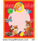 Critter Clipart of a Cheerful Red Frame Around a Pink Oval with a Little Girl, Balloon, Butterfly, Bird, Bear, Ball, Cat and Puppy by Alex Bannykh