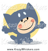 Critter Clipart of a Child Smiling and Dressed in a Gray Cat Halloween Costume by Hit Toon