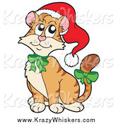 Critter Clipart of a Christmas Cat Wearing a Santa Hat and Green Bows by Visekart
