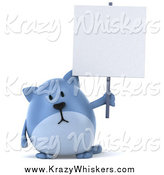 Critter Clipart of a Chubby Blue Cat Holding a Blank Sign by Julos