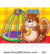 Critter Clipart of a Chubby Brown Cat Sitting by a Cage, Eating a Donut, on a Patterned Background by Alex Bannykh