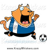Critter Clipart of a Chubby Ginger Cat Playing Soccer by Cory Thoman
