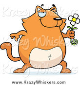 Critter Clipart of a Chubby Orange Cat Holding a Daisy by Cory Thoman