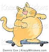 Critter Clipart of a Chubby Orange Cat Skateboarding on a Blue Skateboard by Djart