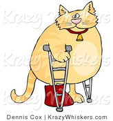 Critter Clipart of a Chubby Orange Cat Using Crutches in a Hospital, One Leg in a Cast by Dennis Cox