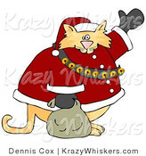 Critter Clipart of a Chubby Orange Tabby Cat Santa Claus Waving Hello by Djart