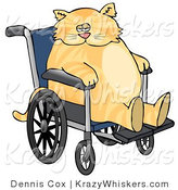 Critter Clipart of a Chubby Orange Tabby Cat Sitting in a Wheelchair in a Hospital by Dennis Cox
