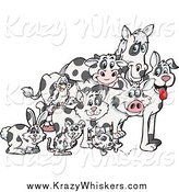 Critter Clipart of a Cloned Rabbit, Mouse, Fish, Cat, Bird, Pig, Dog, Cow and Horse by Dennis Holmes Designs