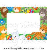 Critter Clipart of a Coloeful Stationery Border or Frame of a Litter of Playful Kittens, Flowers and a Fish by Alex Bannykh