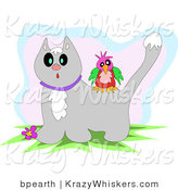Critter Clipart of a Colorful Bird on the Back of a Surprised Gray Tabby Cat with Snow on Its Head by