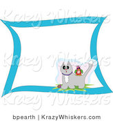 Critter Clipart of a Colorful Bird Sitting on the Back of a Surprised Gray Cat with Snow on Its Head with Blank White Space and a Blue Border by