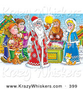 Critter Clipart of a Colorful Painting of a Group of People, Bird, Cat and Dog Around a Treasure Chest and a King of Winter, or Santa Clause by Alex Bannykh