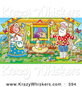 Critter Clipart of a Colorful Painting of a Happy Man, Woman, Mouse, Bird and Cat Watching a Hen Laying Golden Eggs Outside a Log Cabin by Alex Bannykh
