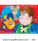 Critter Clipart of a Colorful Painting of a Puss in Boots, the Cat, Standing Behind an Angry Man, Thinking of a Mouse by Alex Bannykh