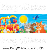 Critter Clipart of a Colorful Picture of a Bluebird, Fox, Dog and Cat Playing with a Ball near a Train on a Sunny Day by Alex Bannykh