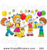 Critter Clipart of a Colorful Picture of a Cat Surrounded by Children and Balloons at a Birthday Party by Alex Bannykh