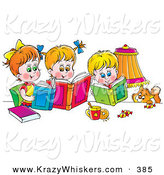 Critter Clipart of a Colorful Picture of a Cat Watching a Boy and His Two Sisters Read Books by Alex Bannykh