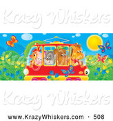 Critter Clipart of a Colorful Picture of a Horse, Bear, Cat, Pig and Chicken Crowded into a Rail Car, Passing a Meadow with Butterflies and Flowers by Alex Bannykh