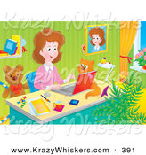 Critter Clipart of a Colorful Picture of a Stay at Home Mom Working at Her Desk on a Laptop in Her Home Office, a Cat Beside Her by Alex Bannykh