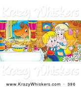 Critter Clipart of a Colorful Picture of Happy Grandchildren Hugging Grandma at a Table While a Cow Chews on Grass in the Window by Alex Bannykh