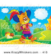 Critter Clipart of a Colorful Picture of Puss in Boots, the Cat, Strolling near a Castle with a Sack over His Shoulder by Alex Bannykh