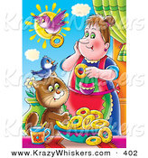 Critter Clipart of a Colorful Picutre of a Bird Flying with a Donut by a Woman with a Bird and Cat by Alex Bannykh